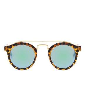 ASOS Round Sunglasses With Metal Bridge High Bar And Flash Lens at asos.com
