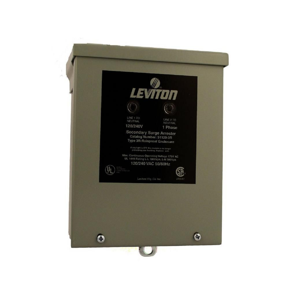 Leviton 120 240 Volt Single Phase Panel Mount 4 Mode Protection Outdoor Rated Surge Protective Device Gray Home Depot