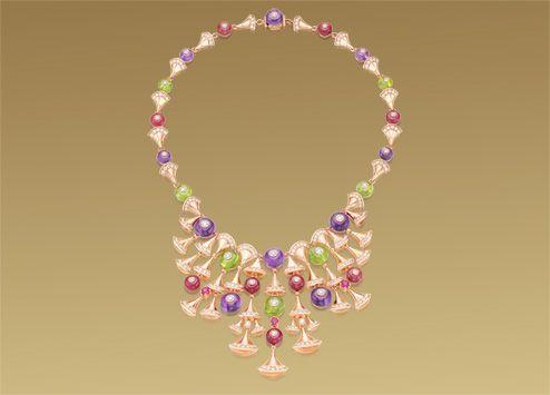 寶格麗 Diva 18K 玫瑰金項鍊,鑲飾彩色寶石及密鑲鑽石。 CL856482