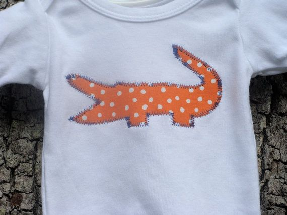 604d09d1 Baby Gator Clothing // Go Gators // Orange and Blue // Gator Onesie ...