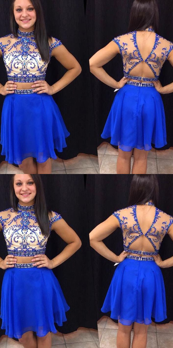 Royal blue homecoming dresses two piece homecoming dresses royal