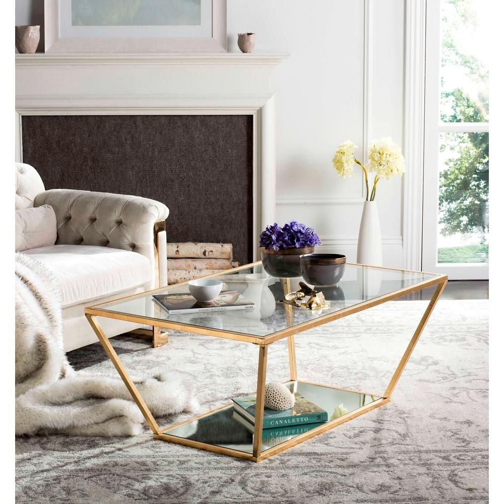 Safavieh Allene 48 In Gold Large Rectangle Glass Coffee Table Fox2601a The Home Depot Retro Coffee Tables Gold Coffee Table Coffee Table [ 1000 x 1000 Pixel ]