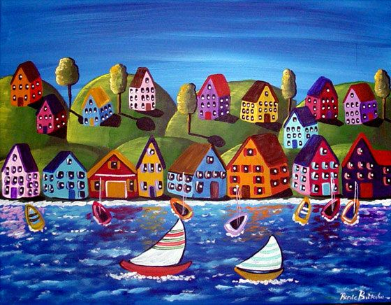 House Paintings colorful shoreline houses sailboats whimsical original folk art