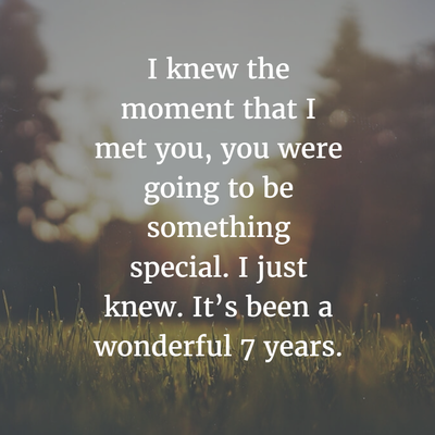 The 7th year of a relationship an important milestone in a