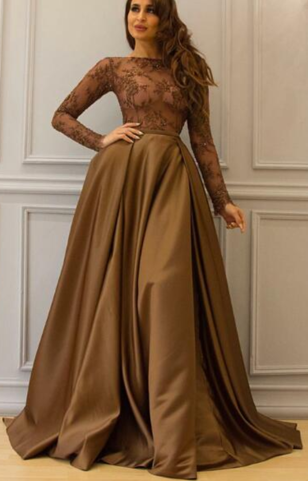 f9c4bcadb45d Long Sleeve Brown Prom Dress, Saudi Arabic Prom Dress, Elegant Floor Length  Cheap Lace Prom Dress, A-Line Prom Dress