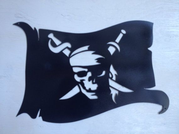 metal pirate jolly roger flag wall hanging 16 by marriedtothemetal do it with style. Black Bedroom Furniture Sets. Home Design Ideas