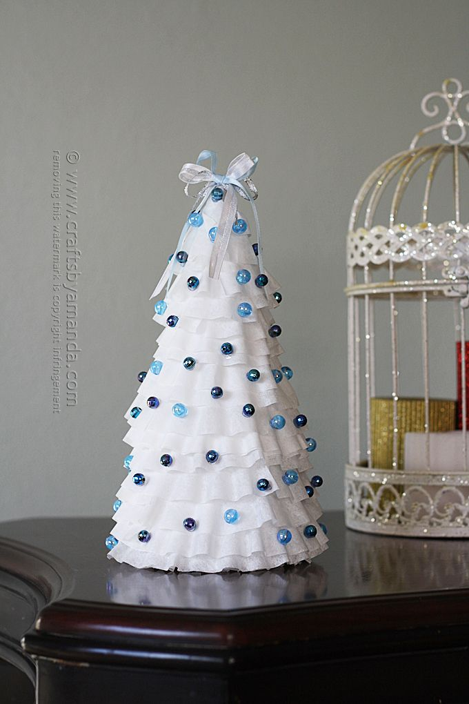 White And Blue Coffee Filter Tree Amanda Formaro Crafts By