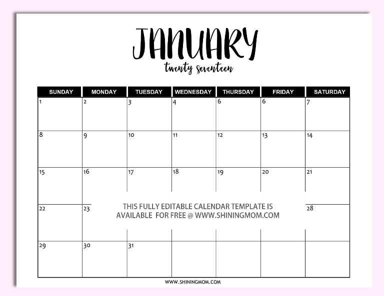 free editable 2017 calendar in microsoft word more