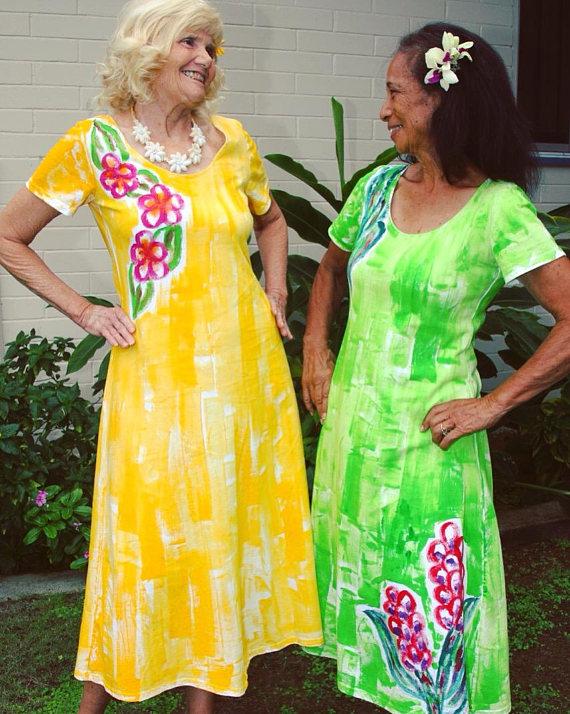 4c3a779adc Maxi Dress Hand Painted Muumuu Woman Fashion Hawaii Dress Long Cotton Dress  Plus Size