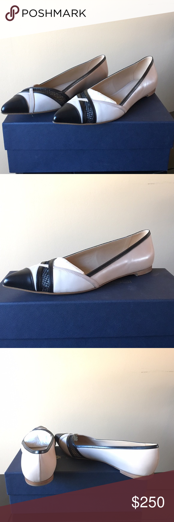 Sergio Rossi Flat Slightly worn Sergio Rossi Flat. The mesh flat is a point toe flat with a colored toe accent. Mesh detailing at front. Small stacked heel. Chalk color. Sergio Rossi Shoes Flats & Loafers