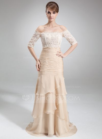 00b14cff4e Mother of the Bride Dresses -  142.99 - Mermaid Strapless Court Train  Chiffon Mother of the