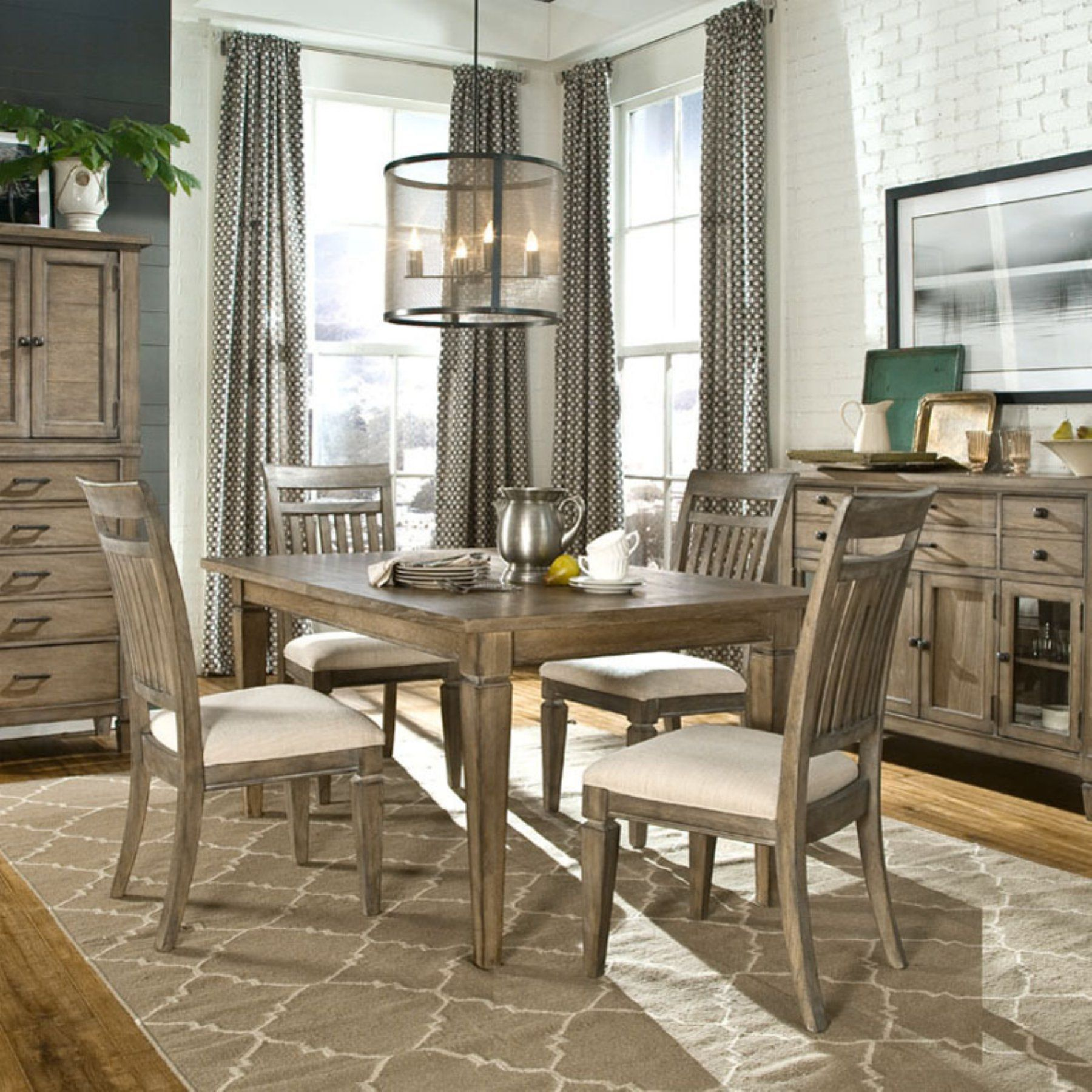 Legacy Brownstone Village 5 Piece Dining Table Set With Slat Back