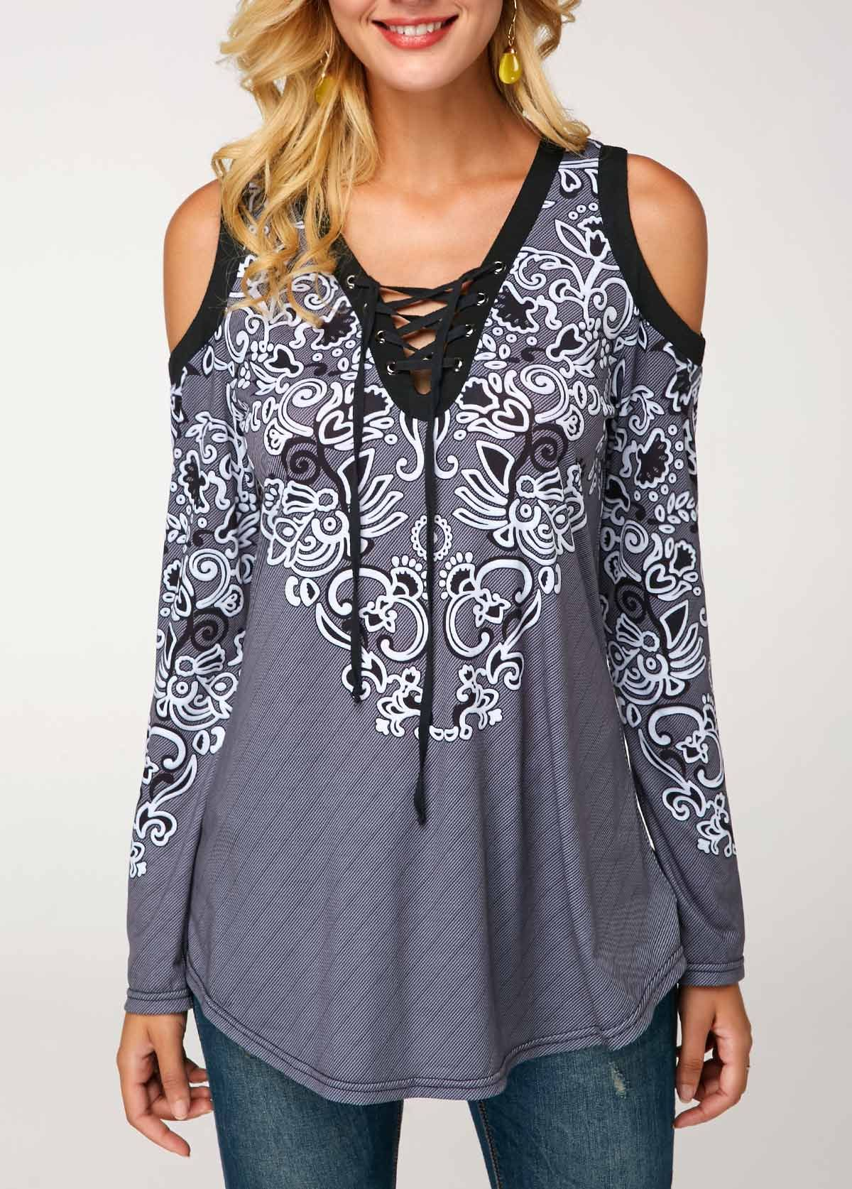 498beb55102 Lace Up Front Printed Cold Shoulder Blouse in 2018