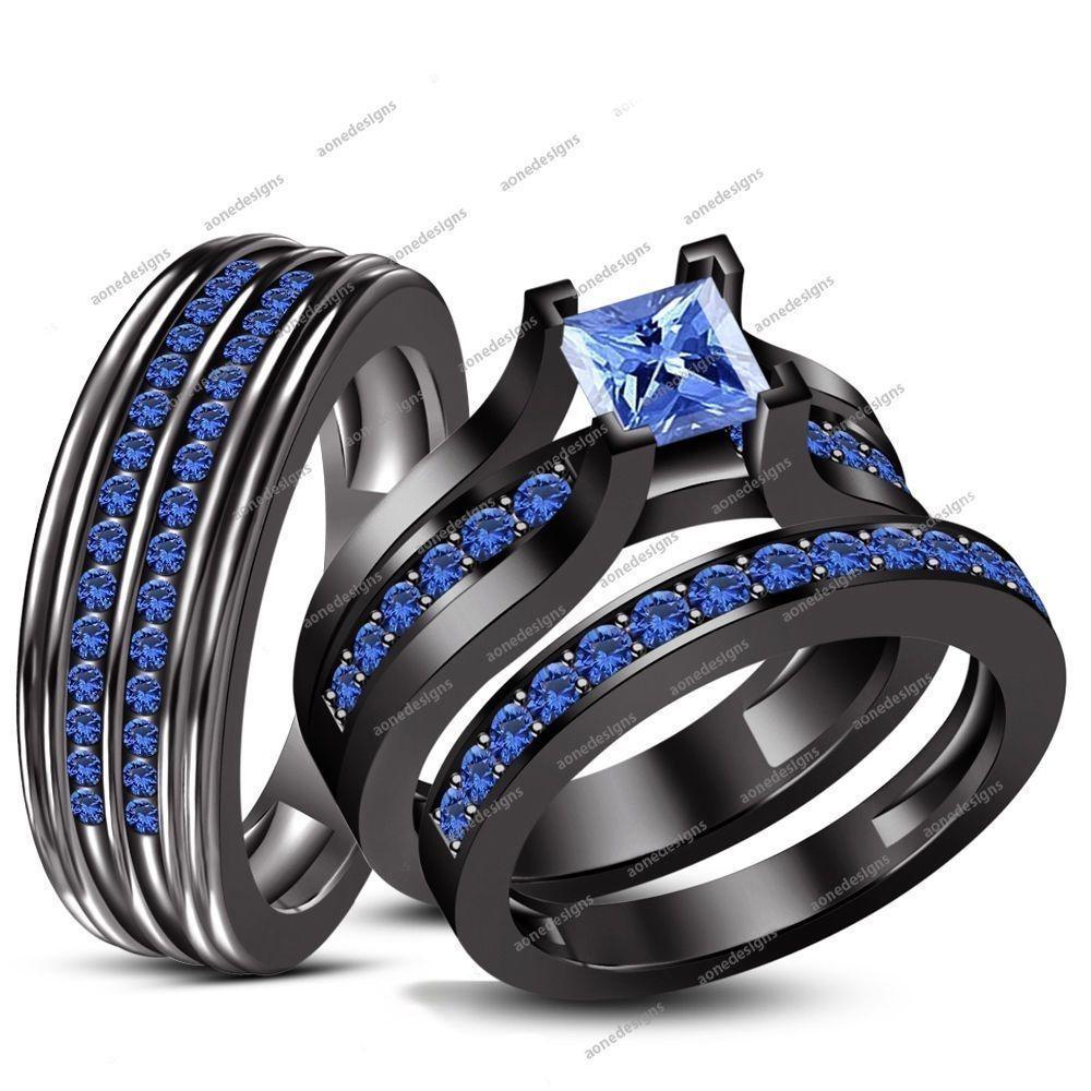 Details About 14k Black Gold Fn 925 Silver Blue Sapphire Wedding