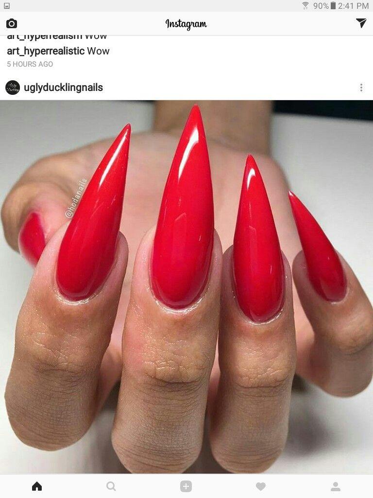 Red Stiletto Nails Red Stiletto Nails Long Red Nails Long
