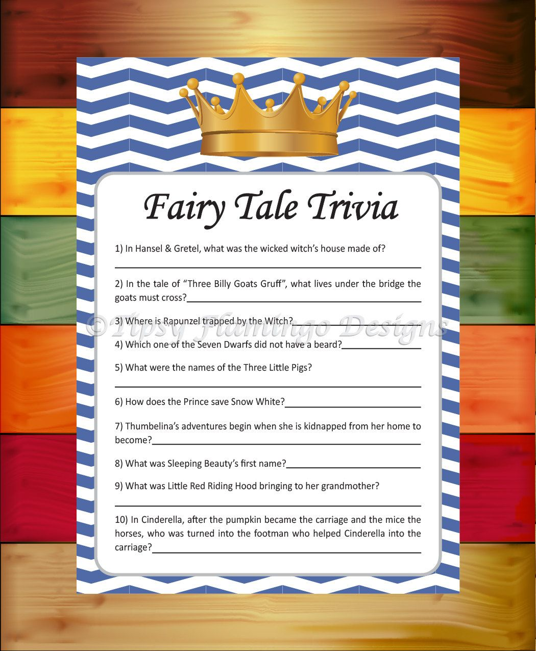 Fairy Tale Trivia, Baby Shower Game, Shower Game, Royal