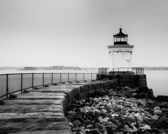Nautical black and white maine lighthouse 8x10 photograph print on etsy 24 00