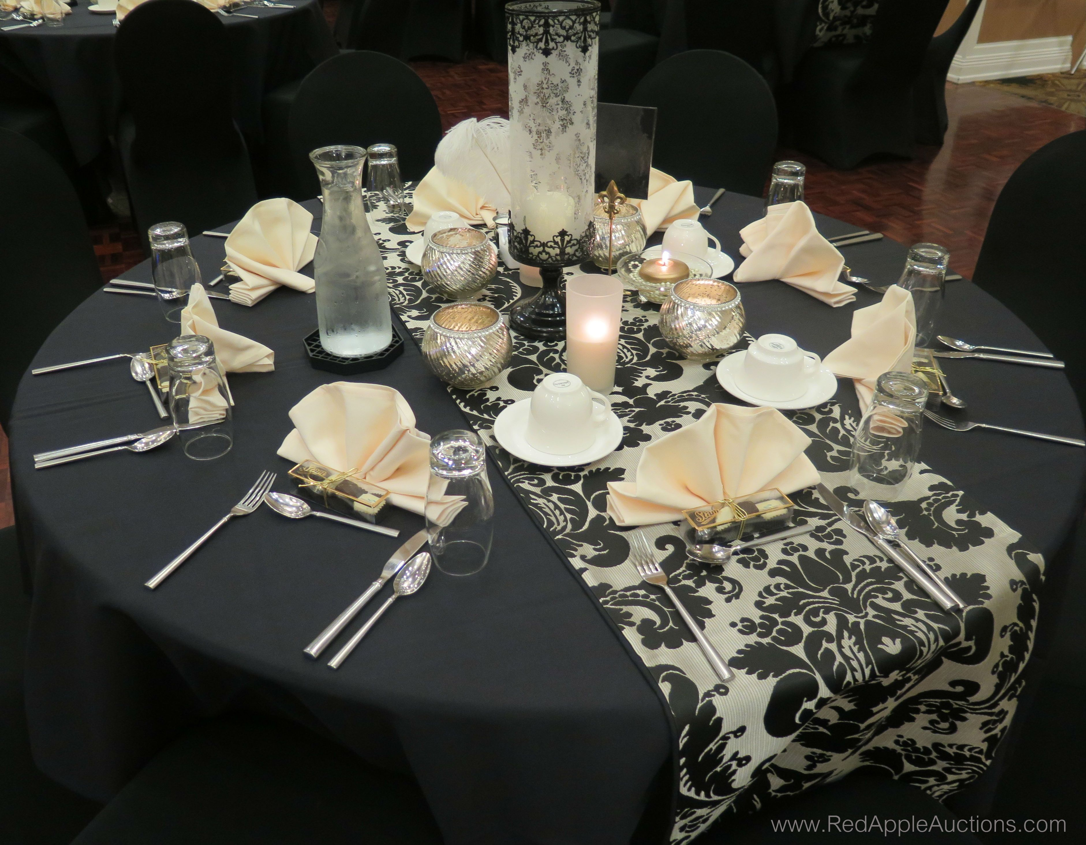 1920s themed event, using black and white as the colors