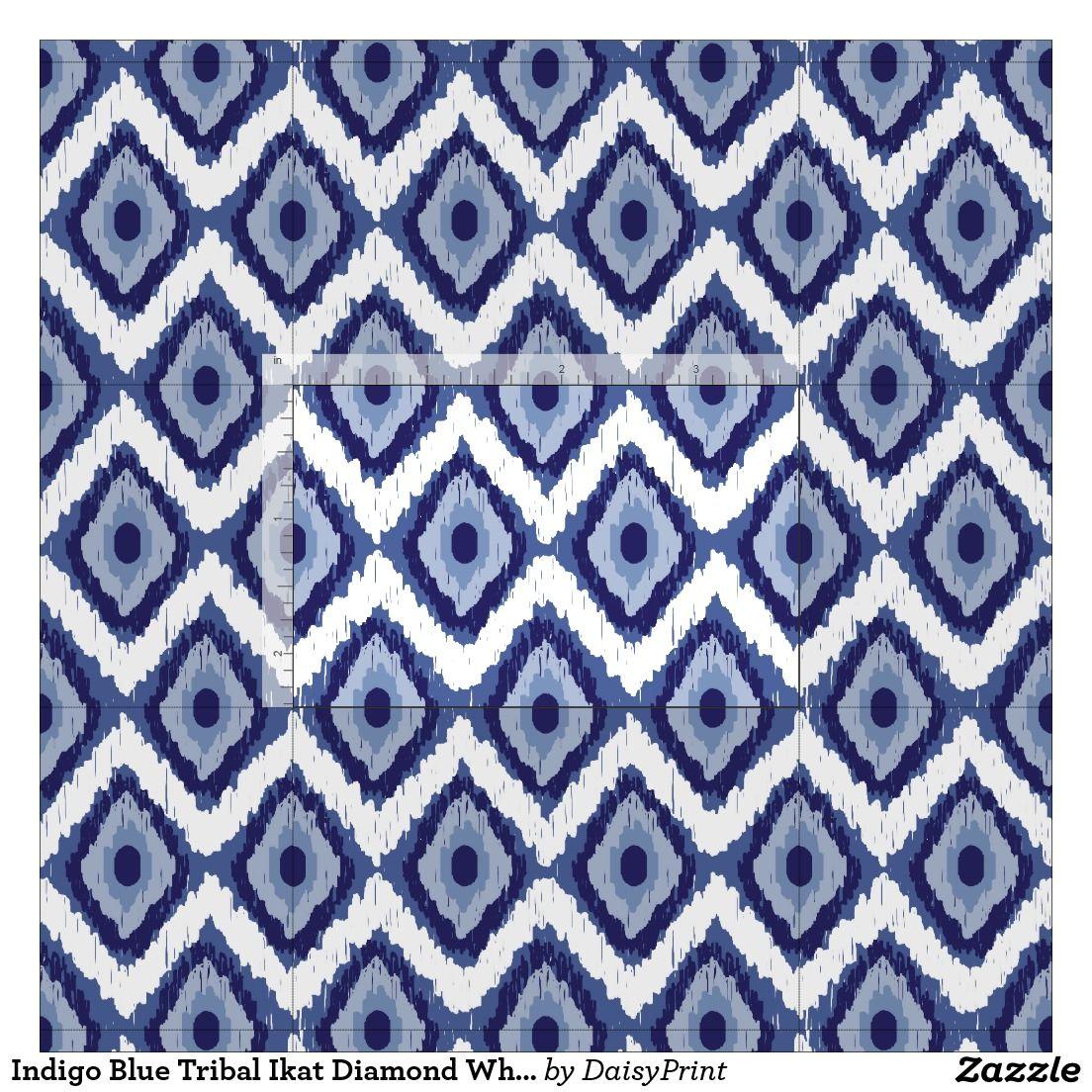 Indigo Blue Tribal Ikat Diamond White Chevron Fabric | Chevron ...