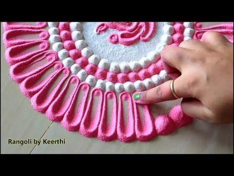 Beautiful pink white rangoli l Top rangoli designs for festivals l उंगली से रंगोली डिजाइन करना सीखें