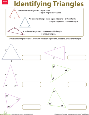 Identifying Triangles Worksheet Education Com Triangle Worksheet Third Grade Math Worksheets Education Elementary Math