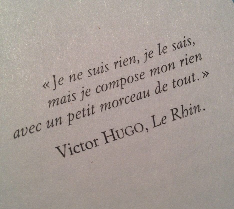 """Victor Hugo, Le Rhin. english translation: """"I am nothing , I know , but I made up my anything with a little bit of everything.""""                                                                                                                                                      More"""