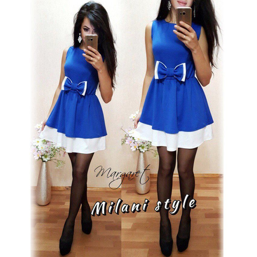2017 New Elegant Blue Patchwork Cute Bow Dress Women Fashion Casual Sleeveless A-line Tunic Dresses Ladies robe femme