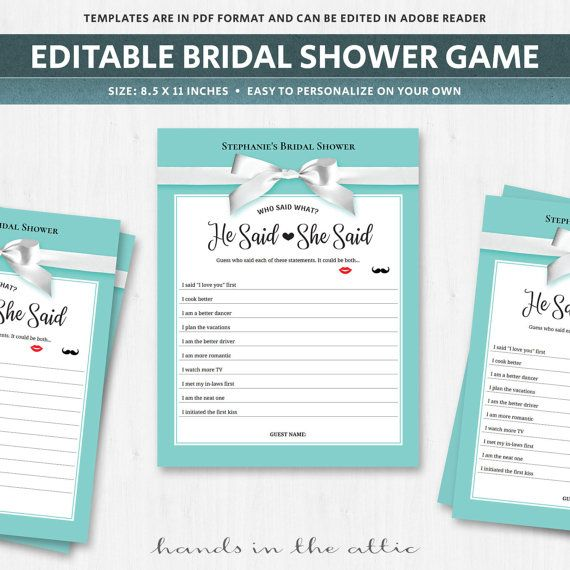 He said she said game template guess who bride or groom wedding questions game…