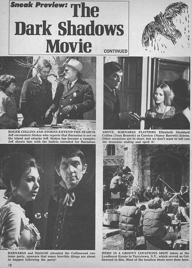 Dark Shadows Movie - Tiger Beat - August, 1970   Dark