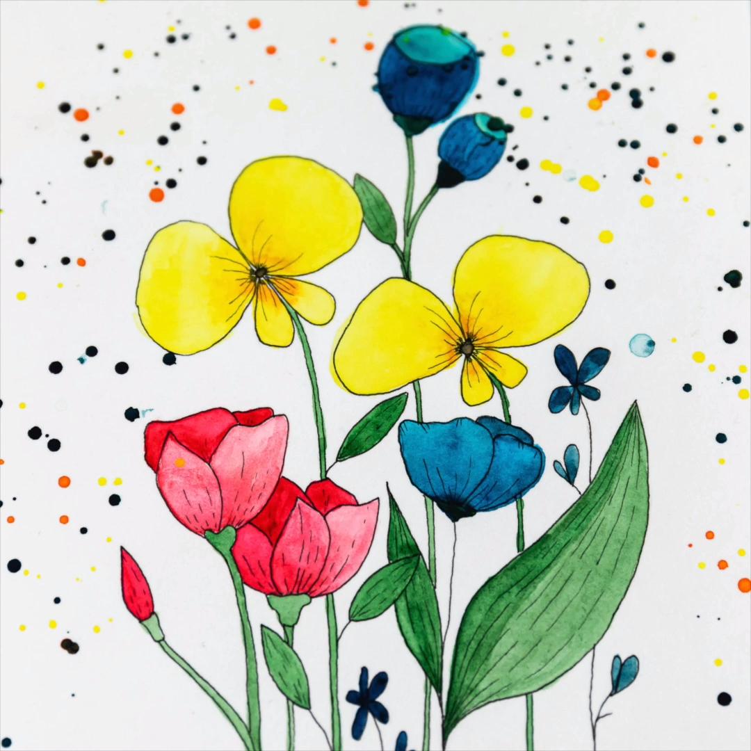 Photo of Flower Illustration process video | Ups, es sind bisschen viele und große Kleck…