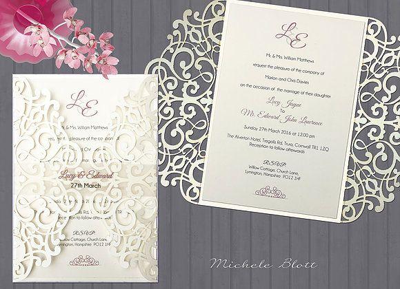 Zara Laser Cut Gatefold Wedding Invitation Laser Cut Gate Fold Card