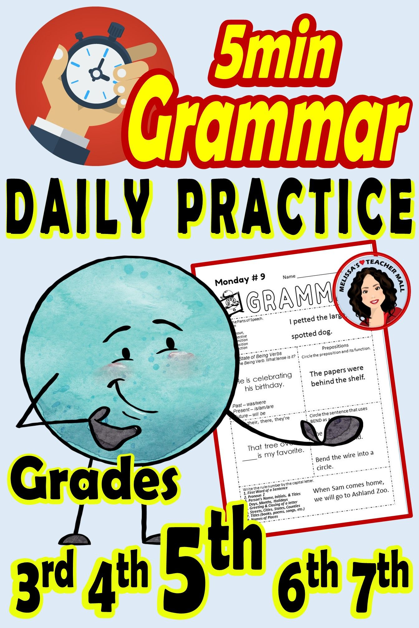Grammar 5 Minute Daily Grammar Worksheets Spiral Review