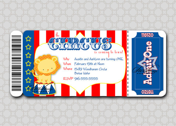 Free Printable Carnival Party Invitations | Circus Birthday Invitation - Boarding Pass Invitation Ticket - Lion ...