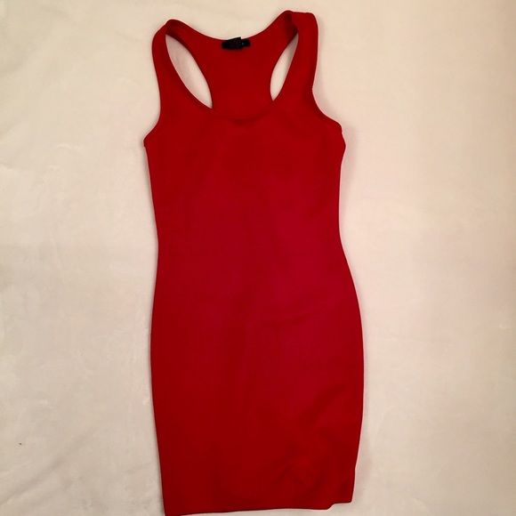 """Timing Red Racer Back Dress Size S 95% polyester 5% spandex body-hugging, racer back dress.  Pretty by itself or styled any number of ways.  This dress is a great foundation piece.  Approx measurements: width under arms 14""""; length measured from base of back of neck 29"""".  Excellent condition.  Like new! Timing Dresses"""