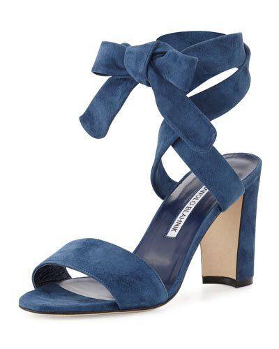 7e27e5dfd368c MANOLO BLAHNIK Tondala Suede Ankle-Wrap Sandal, Blue. #manoloblahnik #shoes  #sandals