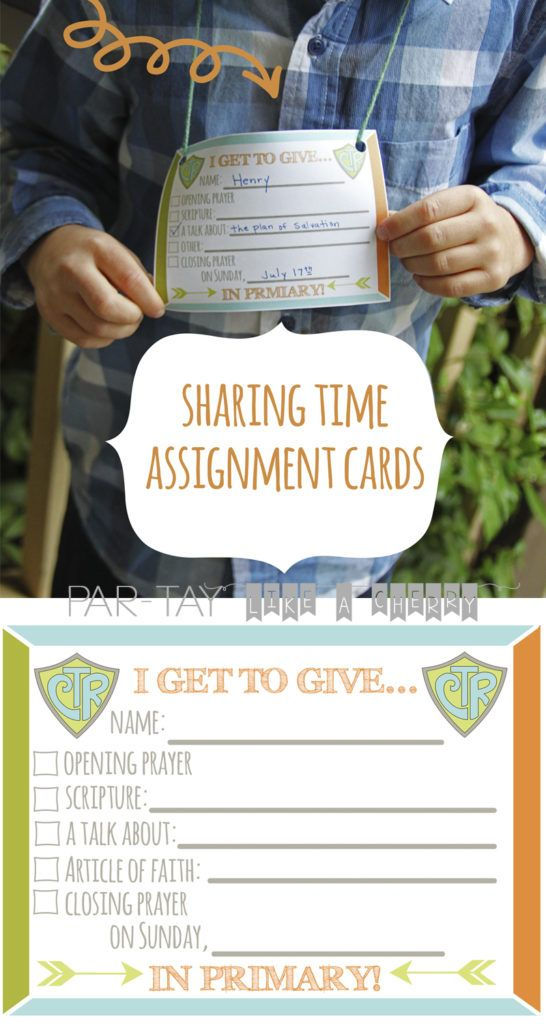 Sharing Time Assignment Cards 2017 | Pinterest | Imprimibles