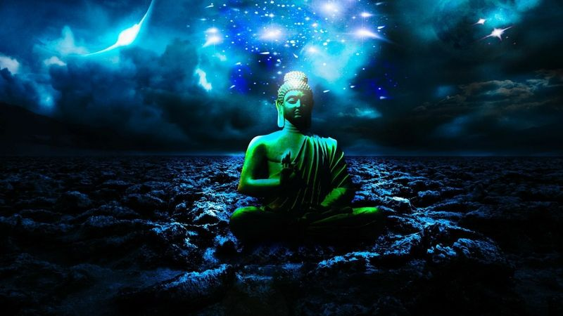 Preview Buddha Fantasy Wallpaper Download Buddha Buddha Background Blue Background Wallpapers