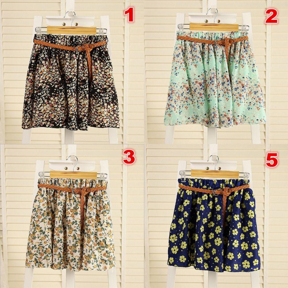 2014 New Korean Woman Chiffon skirt Pleated Girls Skirts Short Skirts Women skirt With Belt 12 COLORS 372,98 руб.