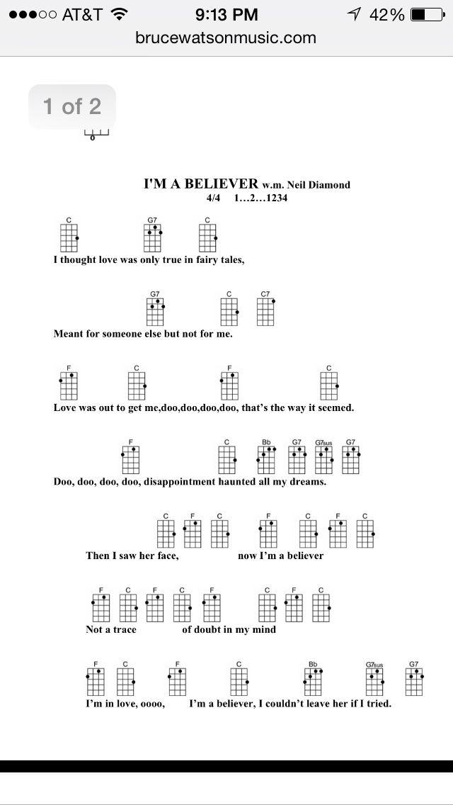 Im A Believer Uke Chords 1 Uke Songs Pinterest Uke Songs Im