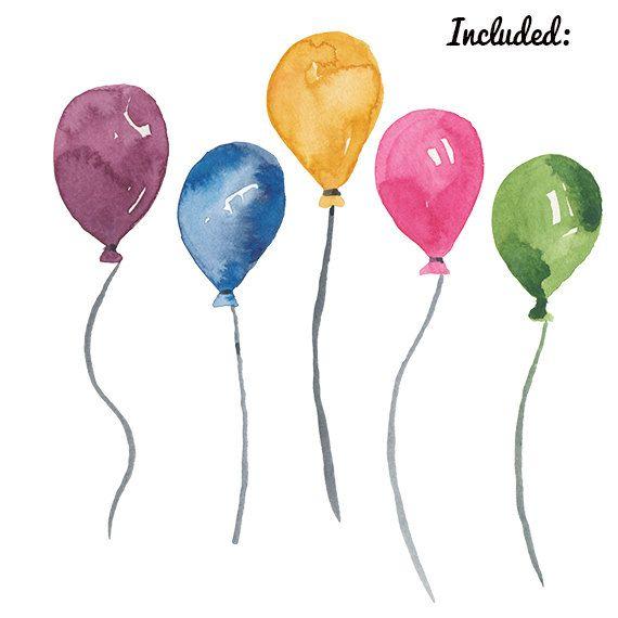 Aquarell Ballon Clipart Geburtstag Party Clipart Grafiken Druckbar
