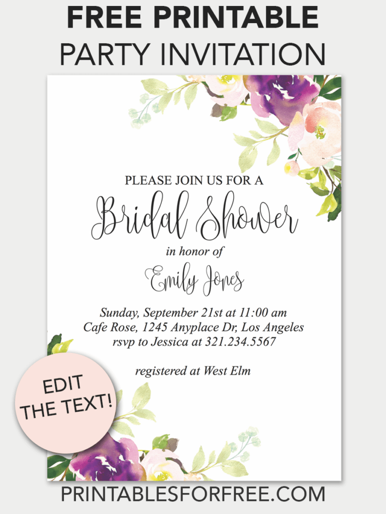 It is a graphic of Stupendous Free Printable Bridal Shower Invitations Templates