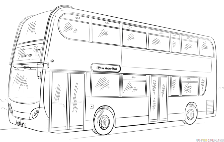 How to draw a double-decker bus | Step by step Drawing tutorials ...