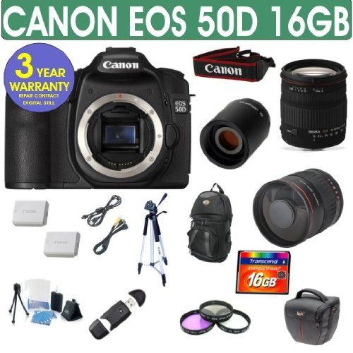 Refurbished Canon EOS 50D + Sigma 18-200 Lens + 800mm Mirror Lens - http://slrscameras.everythingreviews.net/28/refurbished-canon-eos-50d-sigma-18-200-lens-800mm-mirror-lens.html