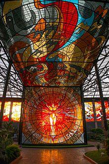 Hombre Sol (Sun Man) inside the Cosmovitral by Mexican artist Leopoldo Flores. Toluca, Mexico.