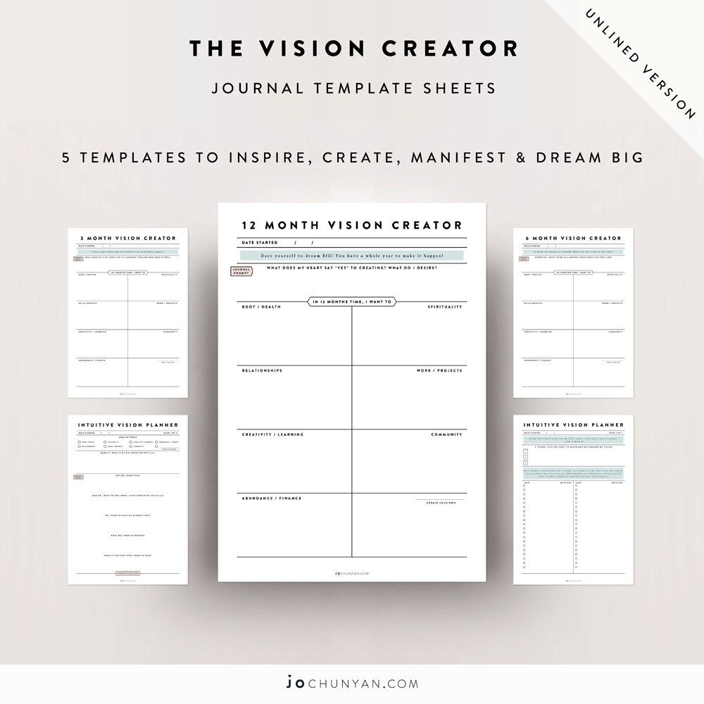 Vision and goal creation templates unlined version by jochunyan vision and goal creation templates unlined version by jochunyan on etsy pronofoot35fo Image collections