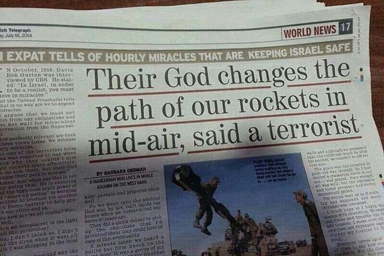 'Their God changes the path of our rockets in mid-air,' said a terrorist