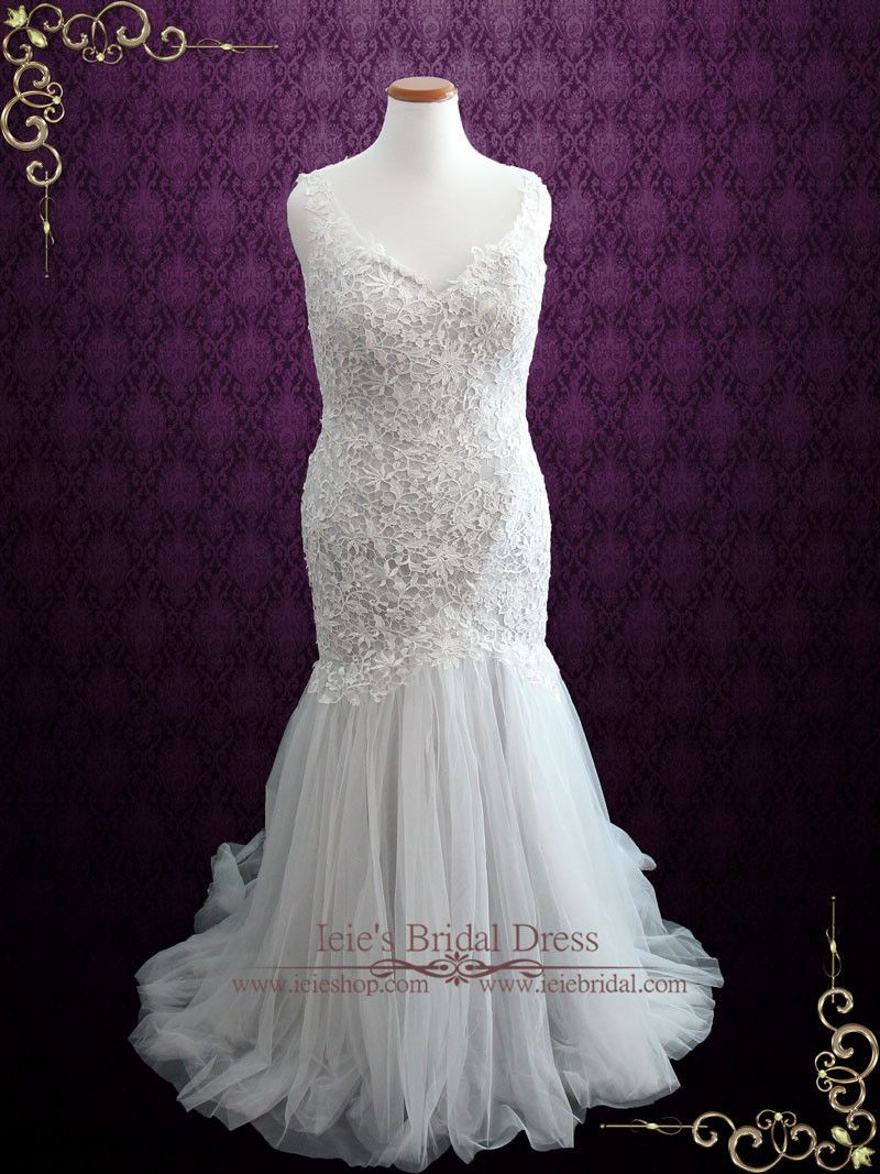 Grey mermaid wedding dress  Soft Grey Fit and Flare Lace Wedding Dress with Illusion Back