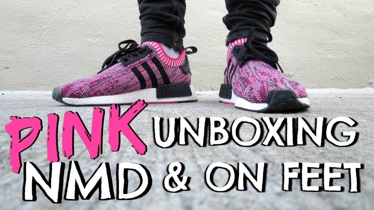 ef6626ef39fbee NMD R1 Primeknit in Shock Pink-Core Black On Feet   Unboxing ...