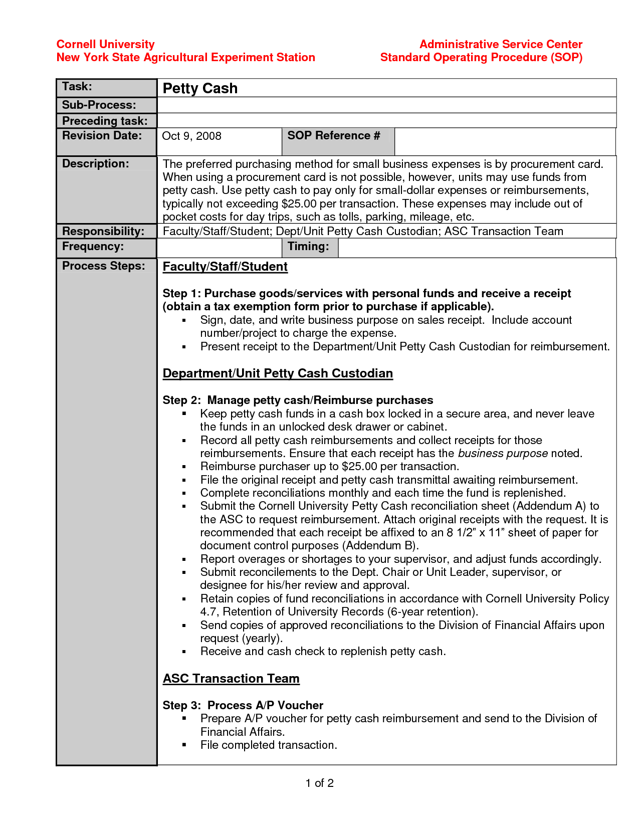 Standard Operating Procedure Template Exampl… Standard
