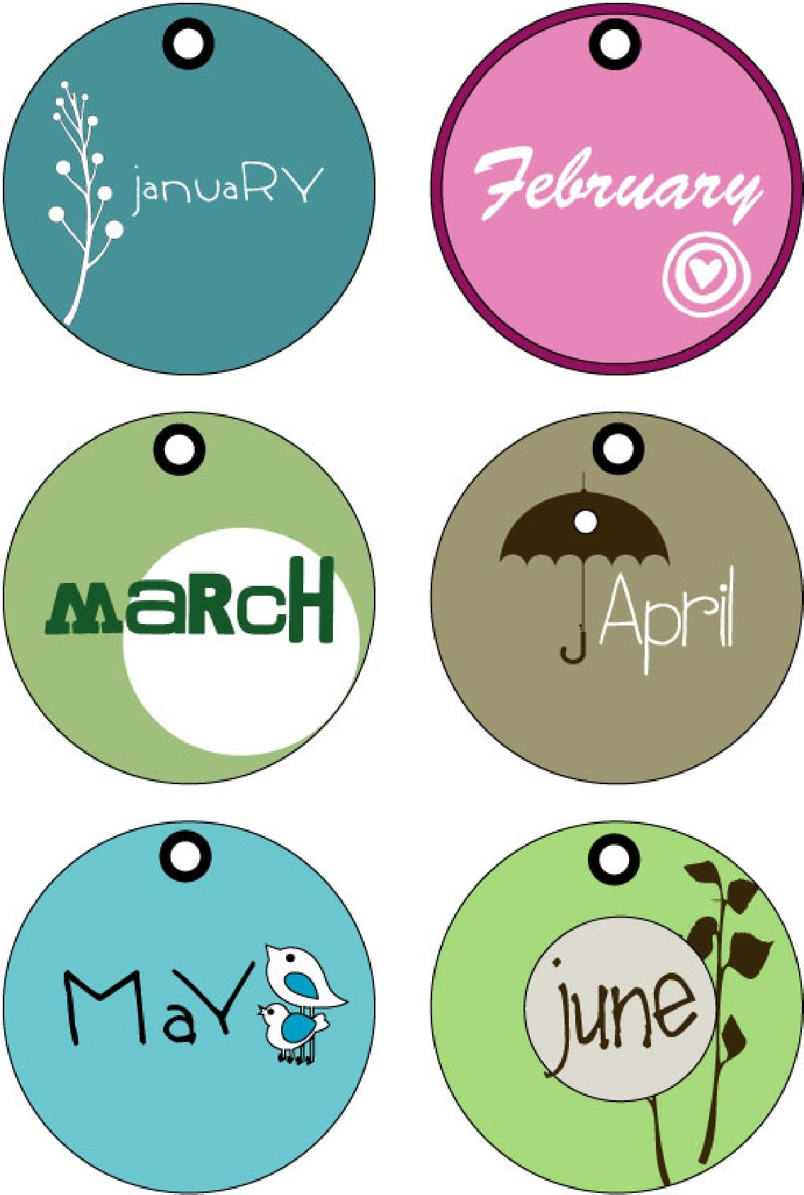 Months Of The Year Tags Printable